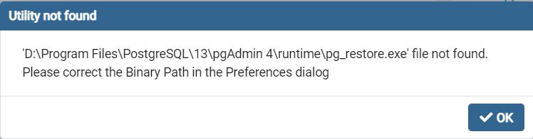 pg_restore.exe file not found. Please correct the Binary Path in the Prefer解决方法