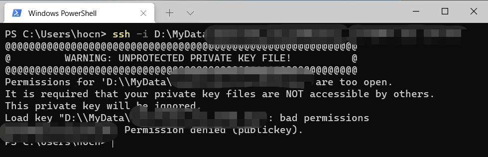 WARNING: UNPROTECTED PRIVATE KEY FILE!