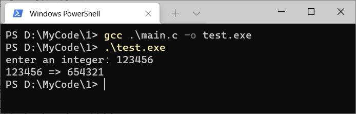 C语言程序反转一个数字