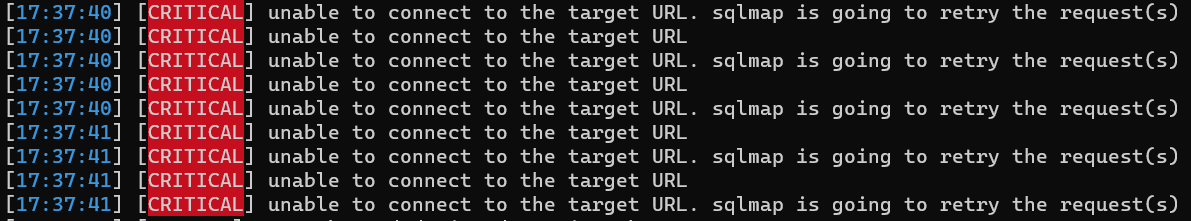 unable to connect to the target URL